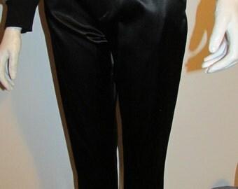 "High Waist Black Satin Pants by Jeffery Halper Body Action Design True Vintage 26"" Waist"