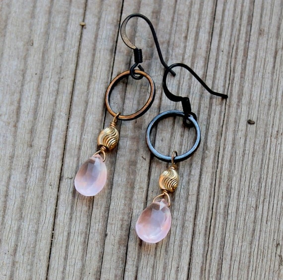 Rose Quartz Earrings, Oxidized Silver Earrings, Oxidized Silver Jewelry, Rose Quartz, Black Hoop Mixed Metal Silver and Gold Unique Jewelry