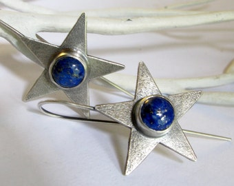 Argentium Sterling Silver Star Earrings, Lapis Lazuli Gemstone Earrings, Sterling Silver Jewelry, Lapis Jewelry, Star Jewelry, Blue Earrings