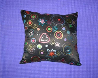 Black silk hand painted cushion/pillow.
