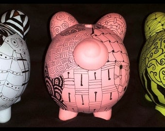 Zentangle Piggies in a Variety of Colors - Decorative and Useful: It is also a Bank!
