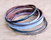 Handmade Bangle Set - 'HRH' - Grey-Blue Toned Enamel Bracelets