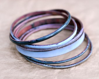 Handmade Bangle Set - 'HRH' - Grey-Blue Toned Enamel Bracelets