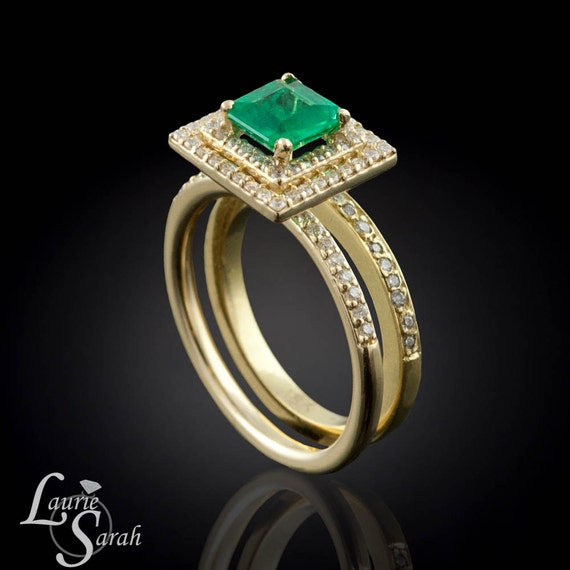 Emerald Engagement Ring, 14kt Yellow Gold Emerald Wedding Set with Diamond Double Halo and Half Eternity Wedding Band - LS2602