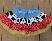 Custom Western Wear Tiered Skirt -Jessie Toy Story Cow Bandana Country  Skirt- Cowgirl Cow Red Bandana Farm Skirt, Pageant Western Skirt