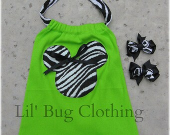 Custom Boutique Minnie Mouse Lime  Minnie Halter Top with 2 pair bows 12 18 24 2t 3t 4t 5t 6 girl