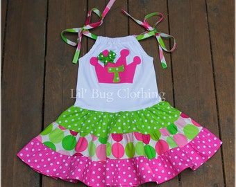 Custom Boutique Tiered Personalized  Sorbet Disco Dot Crown Princess Dress Birthday Girl