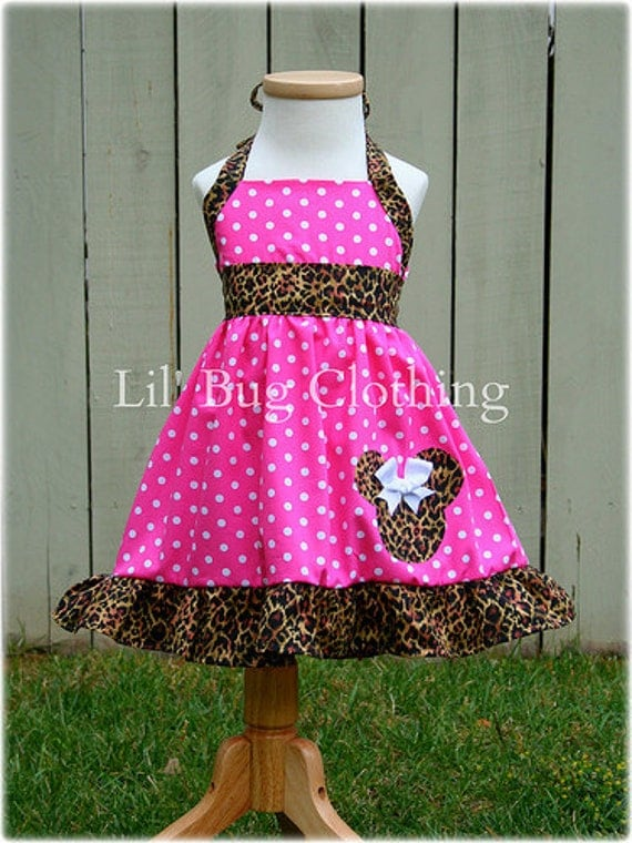 Custom Boutique Clothing Leopard and Pink Dots  Minnie Mouse Halter Dress