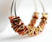 Sterling Silver Hoop Earrings, Gold Glass Earrings, Orange, Pink, Colorful Earrings, Silver Hoops, Shiny Silver Hoops, Geometric Earrings