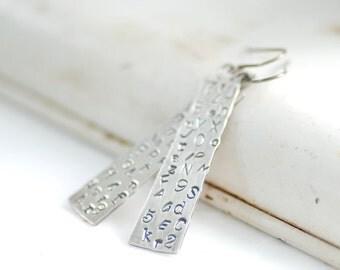 Silver Earrings, Alphabet Earrings, Teacher Gift, Long Dangle Earrings, Metalwork Earrings, Statement Earrings, Stamped Earrings, ABC's