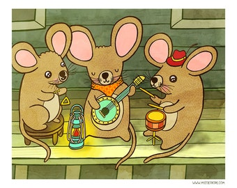 Country Mice Jamboree 8x10 or 5x7 Illustration Print