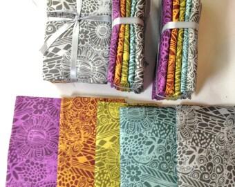 Fat Quarter Batik Cotton Fabric FOUR Sets of Five Pieces