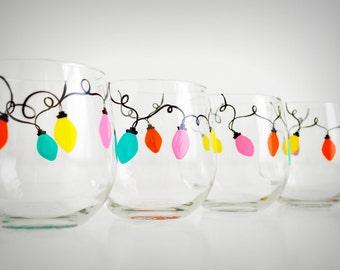 Retro Christmas Lights Stemless Wine Glasses - Set of 4 Hand-Painted Retro Christmas Glasses
