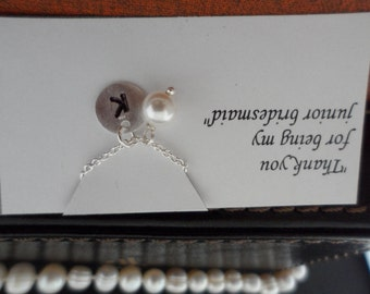 SALE 15% OFF - Custom Initial and Swarovski Pearl Necklace -  Flower Girl Gift, Junior Bridesmaid Gift, Wedding Jewelry