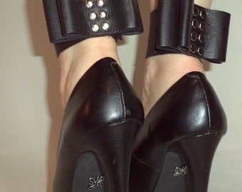 SPATS Black Leather BowCuff Mini Spats with Studs - RECYCLED Shoe Accessories SootBags