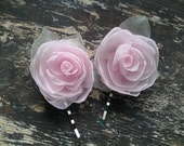 Pale Pink Rosebuds Floral Hair Bobbies