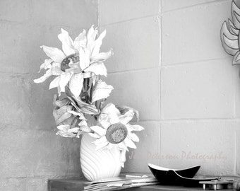 Still Life Photography, rustic flower photos, floral wall art, black & white home decor, Silk flower art 8x10 matted, 11x14 Fine Art  Print