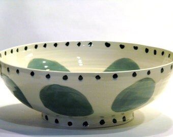 Big Bowl with Aqua Green dots