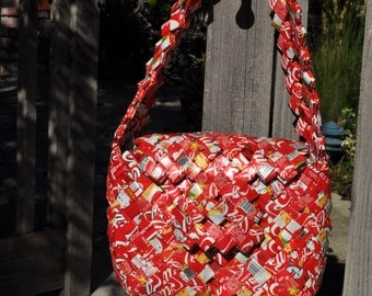 Folk Art Purse Made from Vintage Mexican Coca Cola Packaging:  tramp, prison, trench art technique to construct this handbag.