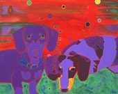Dachshund Art - Dachshund Print - Modern Dog Art- Colorful Dog Print - Dapple dachshund Art- by dogpopart
