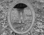 Vintage Glam, The Looking Glass, Alice, Mirror, Black and White, Falling Through Time, By Paper-Mâché Dream Photography,fPOE