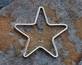 Shop Sale..Sterling Silver Star Charm Pendant Link 22.2mm
