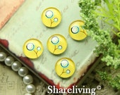 10mm Glass Cabochon, 8mm 12mm 14mm 16mm 20mm 25mm 30mm Round Floral glass Dome - BCH240B