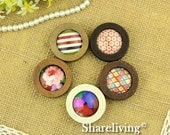 3pcs 38mm Round Wooden Pendant With 25mm Setting / Tray