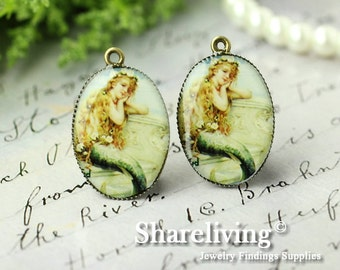 4pcs 18x25mm Handmade Resin Cabochon Pendant With Bronze Base Setting  -- RP478B