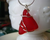 Ruby Red sea glass inspired vintage  glass pendant wired wrapped and whimsical