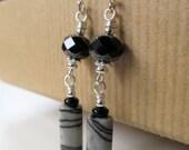 Zebra Jasper and Black Czech Glass Beaded Dangly Sterling Silver Earrings