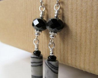 Zebra Jasper and Black Czech Glass Beaded Dangly Sterling Silver Earrings