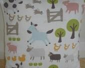 "Farmyard Pillow Cover 16x16 Farm Animals Pigs Cows Donkey Chickens Hens Ducks 16"" Decorative Cushion Sham Case Pillowcase Nursery Playroom"