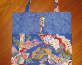 Tuck and Roll Fold-Up Portable Shopping Tote Fans Design Japanese Asian Fabric