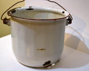 Vintage Enamel Pot White with Red Rim