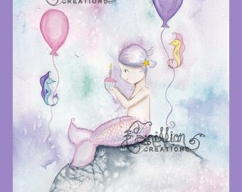 Happy Birthday Cupcake Little Mermaid Print from  Original Watercolor Painting by Camille Grimshaw