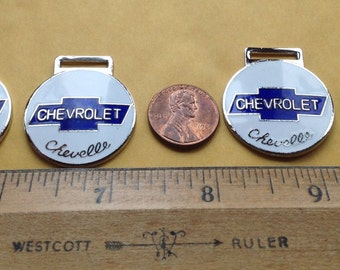 4 Vintage Chevrolet Chevelle Enameled Fobs, Made in Japan, N.O.S.