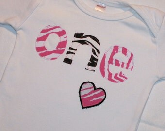 Girls 1st Birthday ONE shirt - 12-18 month long sleeve shirt - lettering in pink and black zebra print with heart