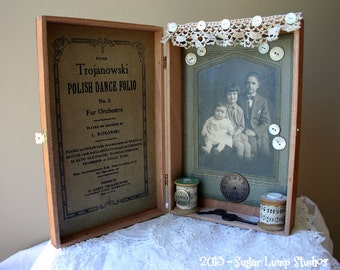 Vintage Altered Cigar Box with antique cabinet card and vintage embellishments