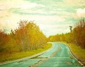 Nature photography, Travel photograph, Rustic Photo, Landscape, Road, Pennsylvania, Yellow, Teal, Aqua - 8x8 inch Print - Setting Forth
