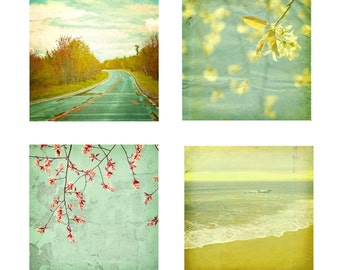 Shabby Chic Decor Yellow and Aqua Wall Art Nature Travel Photos Fine Art Photography Pack of Four 5x5 inch Prints A Beautiful Journey
