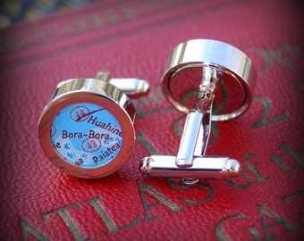 Bora Bora Map Cuff Links