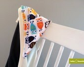 Bamboo Baby Hooded Towel - Chocolate Front / Natural Inside ~ Owls