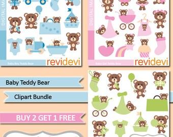 Teddy bear clipart sale bundle / cute teddy bear, baby shower clip art commercial use, digital images, nursery decor, pink blue green