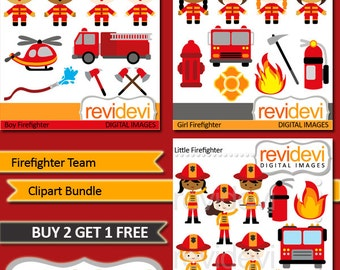 Firefighter clipart bundle sale / commercial use clip art / Red Firefighter Team, truck, fire, extinguisher, hammer