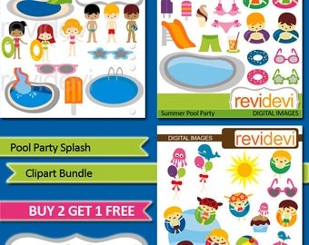 Pool party clipart bundle - Pool Party Splash - swimming pool, summer pool party clip art, instant download, commercial use