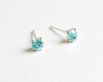 3 mm Small Aquamarine Blue Crystal 925 Sterling Silver Stud Earrings - Bridesmaid Gift - Gift for Her - Hypoallergenic Second Hole Earrings