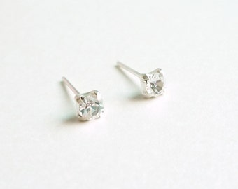 3 mm Tiny  Clear Crystal 925 Sterling Silver Stud Earrings - Bridesmaid Gift - Gift for Her - Hypoallergenic Earrings