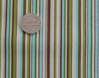 Blue green brown cream stripe fabric - 3 yards
