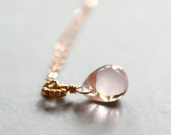 Rose gold necklace, pink glass necklace, pastel pink jewelry, rose gold jewelry, pink gold necklace- Makou v2, the necklace